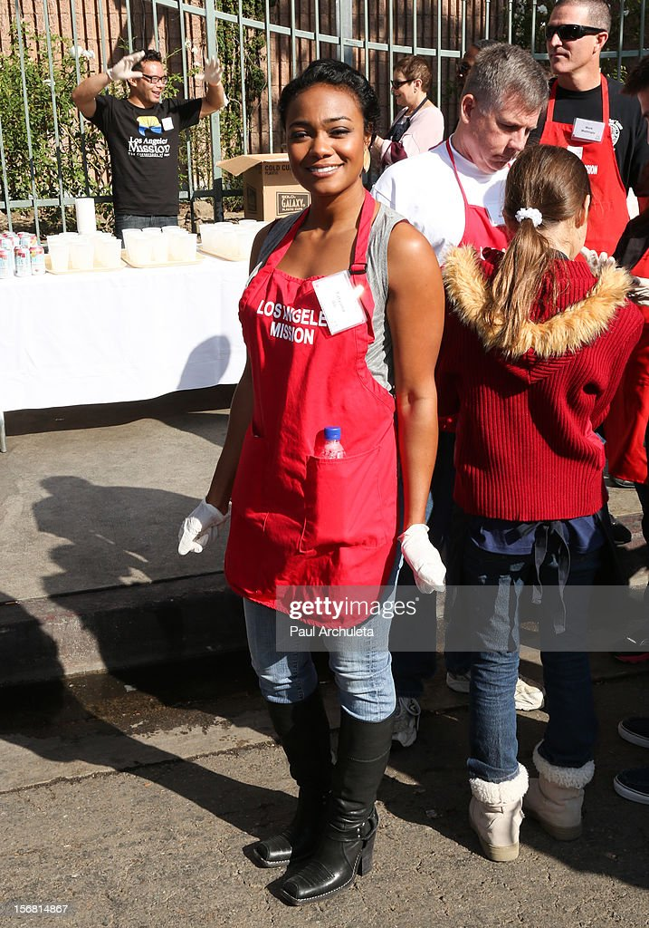 Actress Tatyana Ali attends the Los Angeles Mission Thanksgiving Dinner at Los Angeles Mission on November 21, 2012 in Los Angeles, California.