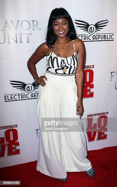 Actress Tatyana Ali attends the premiere of Brotherly Love at SilverScreen Theater at the Pacific Design Center on April 13 2015 in West Hollywood...