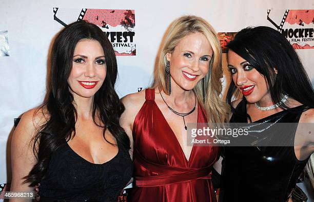 Actress Tawny Amber Young actress Chanel Ryan and actress DeVanny Pinn attend the ShockFest Film Festival Awards held at Raleigh Studios on January...