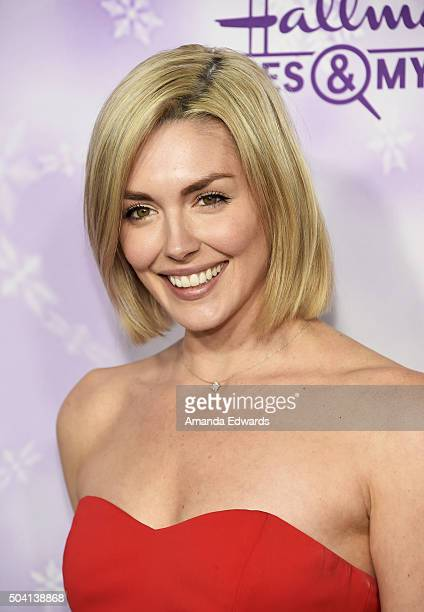 Actress Taylor Cole arrives at the Hallmark Channel and Hallmark Movies and Mysteries Winter 2016 TCA Press Tour at Tournament House on January 8...