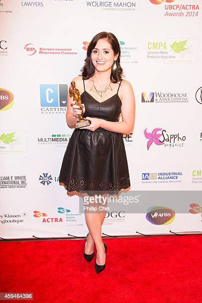 Actress Taylor Hill wins best newcomer award at the 2014 UBCP/ACTRA Awards at the Vancouver Playhouse on November 22 2014 in Vancouver Canada