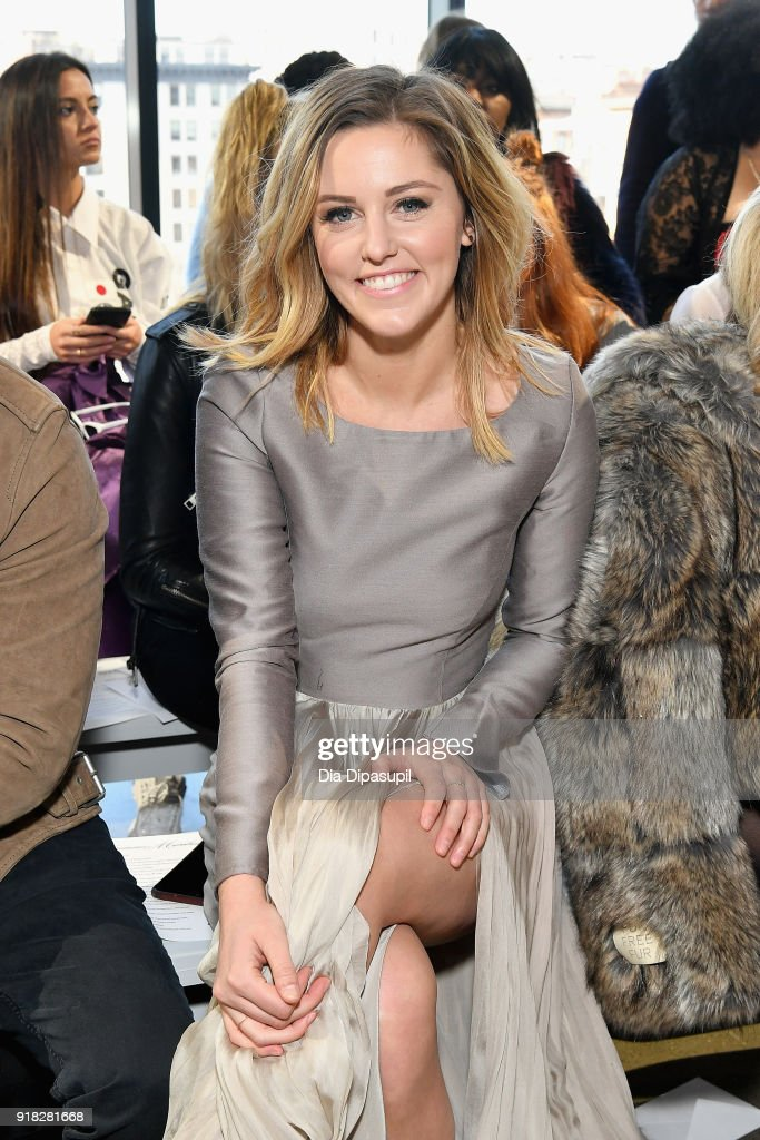 Actress Taylor Louderman attends the Leanne Marshall front row during New York Fashion Week: The Shows at Gallery II at Spring Studios on February 14, 2018 in New York City.