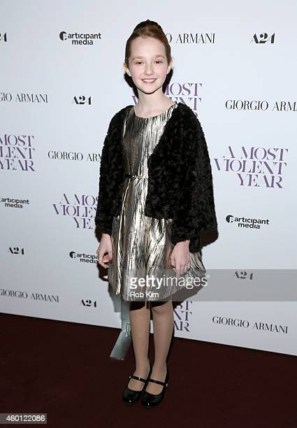 Actress Taylor Richardson attends Giorgio Armani Presents The New York Premiere Of A24's A Most Violent Year at Florence Gould Hall Theater on...