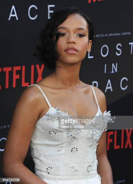 Actress Taylor Russell arrives for the Premiere Of Netflix's Lost In Space Season 1 held at The Cinerama Dome on April 9 2018 in Los Angeles...