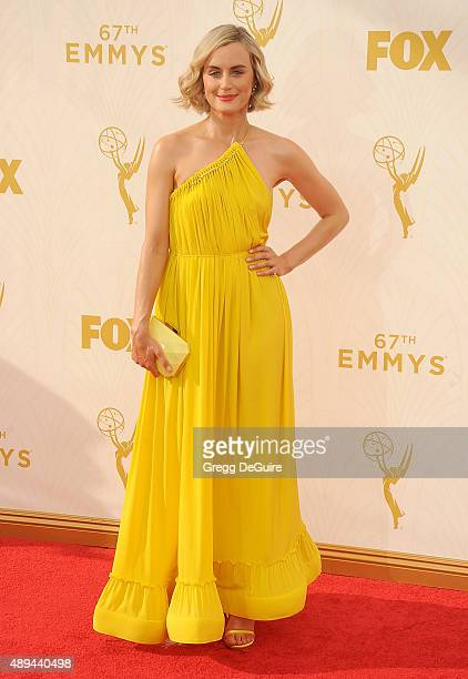 Actress Taylor Schilling arrives at the 67th Annual Primetime Emmy Awards at Microsoft Theater on September 20 2015 in Los Angeles California
