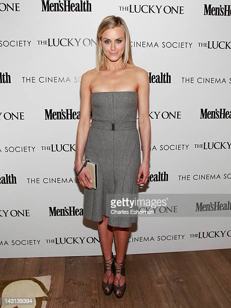 """Actress Taylor Schilling attends the Cinema Society & Men's Health host a screening of """"The Lucky One"""" at the Crosby Street Hotel on April 19, 2012..."""