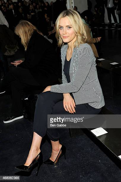 Actress Taylor Schilling attends the Theory fashion show during MercedesBenz Fashion Week Fall 2014 at Spring Studios on February 10 2014 in New York...