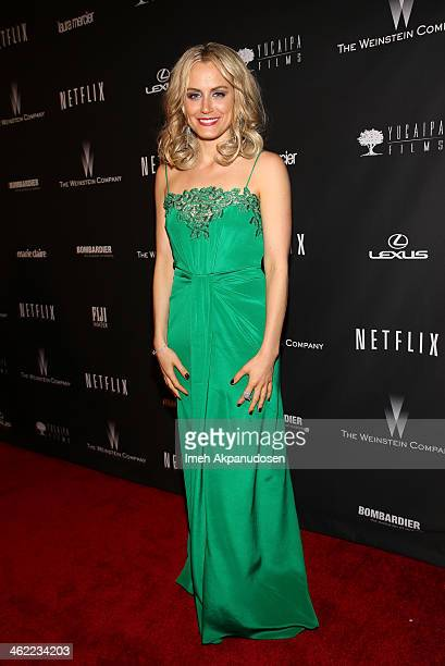 Actress Taylor Schilling attends The Weinstein Company Netflix's 2014 Golden Globes After Party presented by Bombardier FIJI Water Lexus Laura...