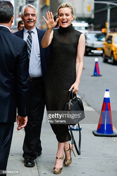 Actress Taylor Schilling enters 'The Late Show With Stephen Colbert' taping at the Ed Sullivan Theater on June 23 2016 in New York City