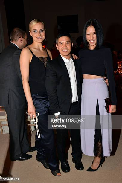 Actress Taylor Schilling from left designer Thakoon Panichgul and Eva Chen editorinchief of Lucky Magazine attend the Council of Fashion Designers of...