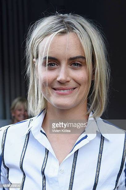 Actress Taylor Schilling is seen leaving the JCrew presentation during New York Fashion Week The Shows at Skylight Clarkson Sq on September 16 2015...