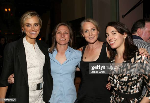 Actress Taylor Schilling Netflix VP of Original Content Cindy Holland and author Piper Kerman and Director of Content Acquisition Nina Wolarsky...