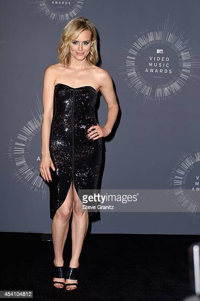 Actress Taylor Schilling poses in the press room during the 2014 MTV Video Music Awards at The Forum on August 24 2014 in Inglewood California