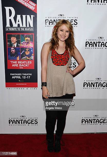 Actress Taylor Spreitler arrives at the opening night of 'Rain A Tribute To The Beatles' at the Pantages Theatre on April 12 2011 in Hollywood...