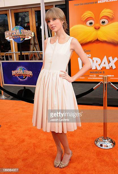 Actress Taylor Swift attends the premiere of Dr Seuss' The Lorax at Universal Studios Hollywood on February 19 2012 in Universal City California