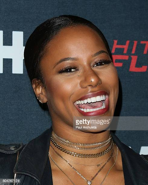 Actress Taylour Paige attends the premiere of VH1's Hit The Floor Season 3 at The Paramount Theater on the Paramount Studios lot on January 9 2016 in...