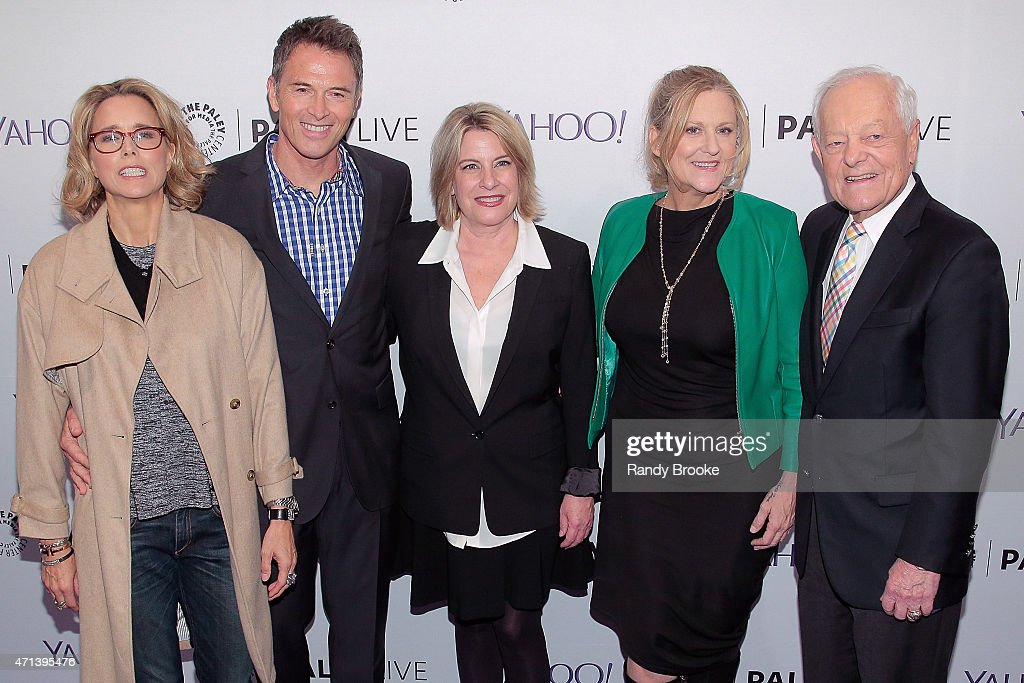 Actress Tea Leoni, actor Tim Daly, creator/writer Barbara Hall, exectutive producer Lori McCreary and panel moderator Bob Schieffer attend The Paley Center for Media presents an evening with 'Madame Secretary' at Paley Center For Media on April 27, 2015 in New York City.