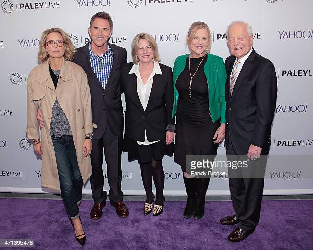 Actress Tea Leoni actor Tim Daly creator/writer Barbara Hall exectutive producer Lori McCreary and panel moderator Bob Schieffer attend The Paley...