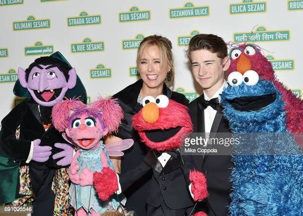 Actress Tea Leoni and son Kyd Miller Duchovny pose for a photo at the 15th Annual Sesame Workshop Benefit Gala at Cipriani 42nd Street on May 31 2017...