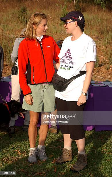 Actress Tea Leoni chats with Breast Cancer patient Teri Roseman at the 8th Annual Expedition Inspiration TakeAHike at Paramount Ranch in the Santa...