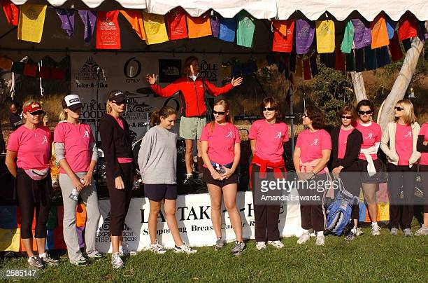 Actress Tea Leoni congratulates The A Team for their fundraising efforts at the 8th Annual Expedition Inspiration TakeAHike at Paramount Ranch in the...