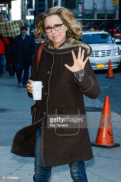 Actress Tea Leoni enters 'The Late Show With Stephen Colbert' taping at the Ed Sullivan Theater on February 18 2016 in New York City