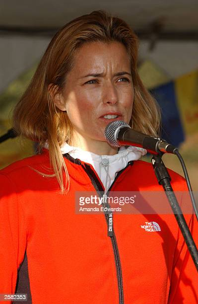 Actress Tea Leoni gives a speech at the 8th Annual Expedition Inspiration TakeAHike at Paramount Ranch in the Santa Monica Mountains National...