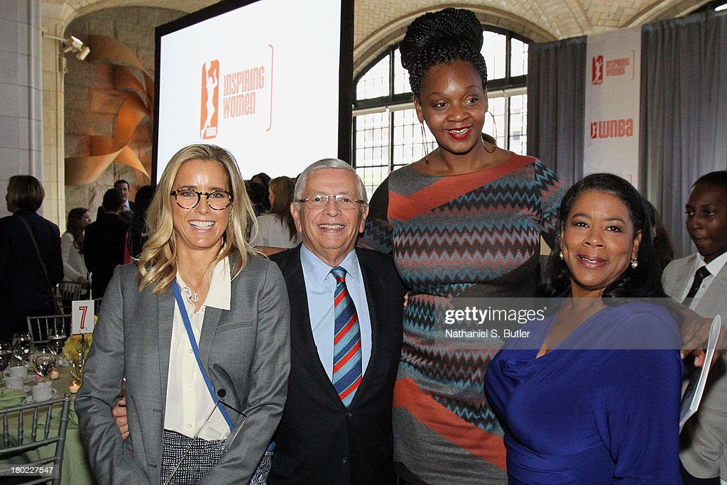 Actress Tea Leoni, NBA Commissioner David Stern, Kara Braxton #45 of the New York Liberty and the President of the WNBA, Laurel Richie pose for a picture at the 2013 WNBA Inspiring Women's Luncheon in New York City.