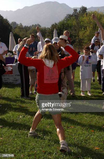 Actress Tea Leoni rallies a group of hikers at the 8th Annual Expedition Inspiration TakeAHike at Paramount Ranch in the Santa Monica Mountains...