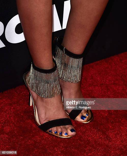 Actress Teala Dunn shoe detail attends the Premiere of Open Road Films' Sleepless at Regal LA Live Stadium 14 on January 5 2017 in Los Angeles...