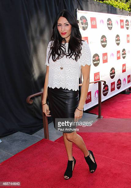 Actress Tehmina Sunny attends the Sue Wong runway fashion show Mythos And Goddesses at the Taglyan Cultural Complex on March 9 2015 in Hollywood...