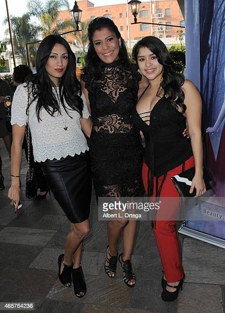 Actress Tehmina Sunny Susan Santiago and Chelsea Rendon attend the Art Hearts Fashion Opening Night with Sue Wong's Runway Fashion Show Mythos And...