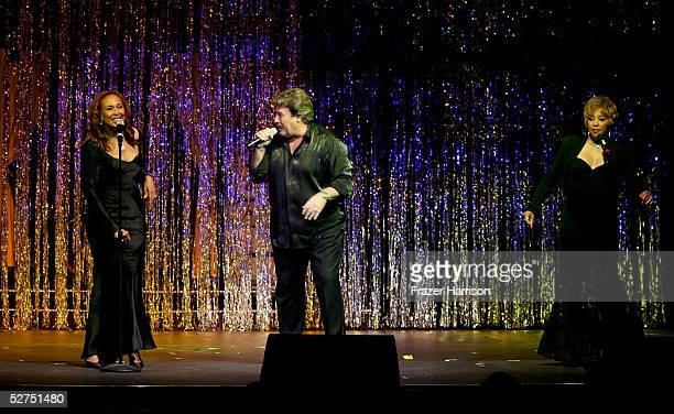 Actress Telma Hopkins singer Tony Orlando and Joyce Vincent Wilson perform during the WeSPARKLE Variety Hour to benefit weSPARK Cancer Support Center...