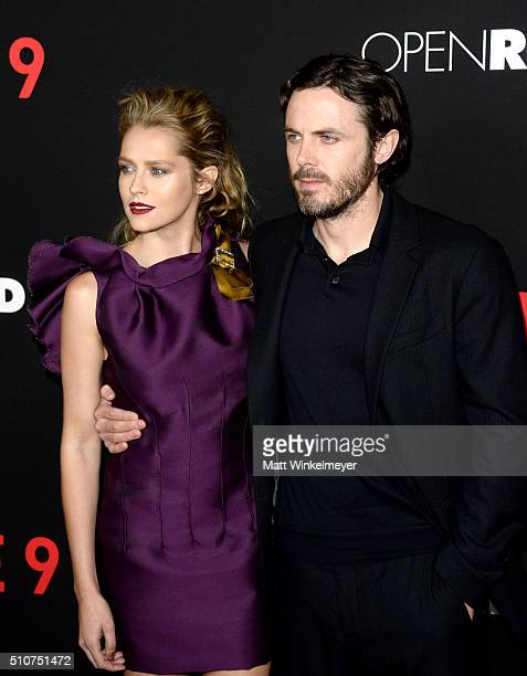 Actress Teresa Palmer and actor Casey Affleck attends the premiere of Open Road's Triple 9 at Regal Cinemas LA Live on February 16 2016 in Los...