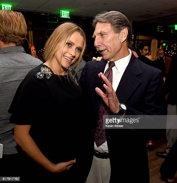 Actress Teresa Palmer and Desmond Doss Jr talk at the after party for a screening of Summit Entertainment's Hacksaw Ridge at the Academy of Motion...