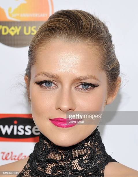 Actress Teresa Palmer arrives at the 2013 G'Day USA Los Angeles Black Tie Gala at JW Marriott Los Angeles at LA LIVE on January 12 2013 in Los...