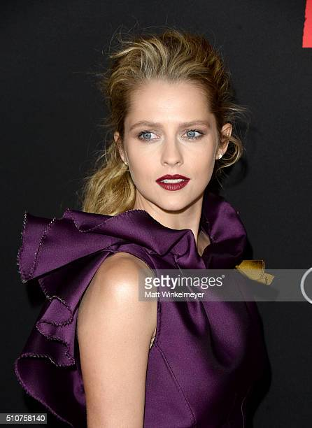 Actress Teresa Palmer attends the premiere of Open Road's Triple 9 at Regal Cinemas LA Live on February 16 2016 in Los Angeles California