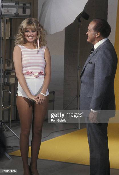 Actress Teri Copley and comedian Bob Hope attending the taping of 'Bob Hope's Spring Fling' on April 5 1981 at NBC TV Studios in Burbank California