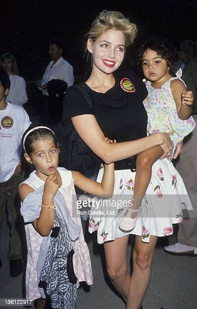 Actress Teri Copley and daughters attending 'Performance of Ringling Brothers Circus' on August 2 1989 at the Los Angeles Sports Arena in Los Angeles...