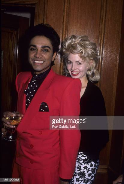Actress Teri Copley and husband Mickey Free attending party for 16th Annual American Music Awards on January 30 1989 at Chasen's Restaurant in...