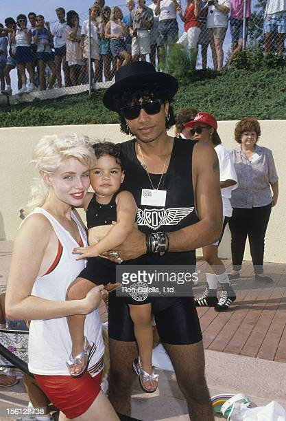 Actress Teri Copley and Mickey Free attending the taping of 'Battle of the Network Stars' on August 27 1988 at Pepperdine University in Malibu...