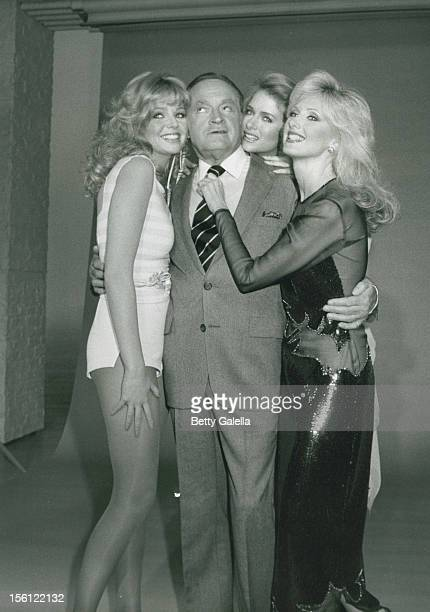 Actress Teri Copley Bob Hope Donna Dixon and Morgan Fairchild attending the taping of 'Bob Hope Spring Fling of Glamour and Comedy' on April 5 1981...