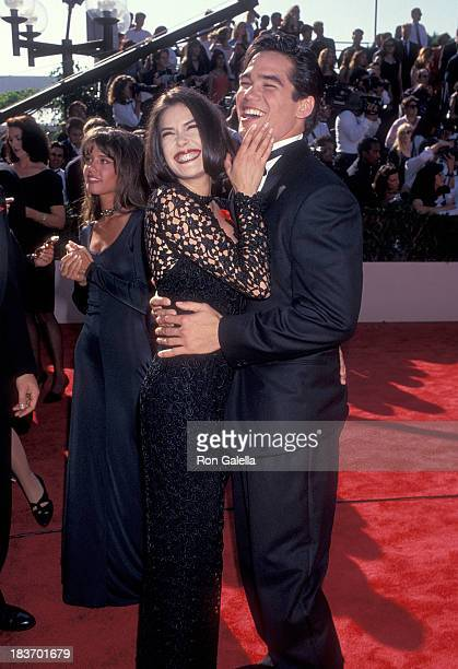 Actress Teri Hatcher and actor Dean Cain attend the 45th Annual Primetime Emmy Awards on September 19 1993 at the Pasadena Civic Auditorium in...