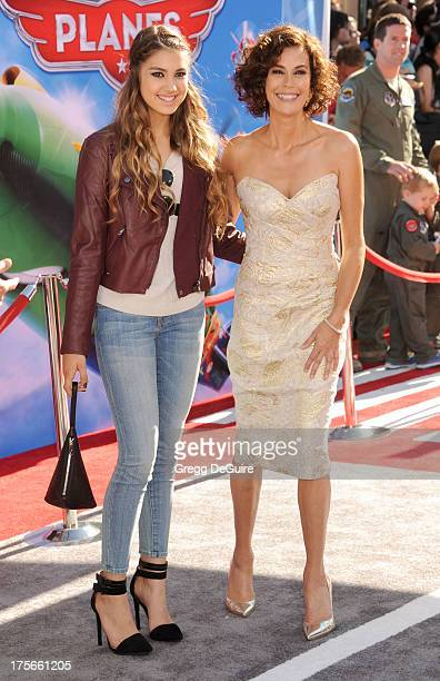 Actress Teri Hatcher and daughter Emerson Hatcher arrive at the Los Angeles premiere of Planes at the El Capitan Theatre on August 5 2013 in...