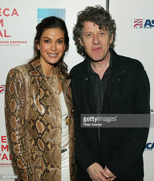 Actress Teri Hatcher and musician Paul Buchanan pose for a photo at The ASCAP Music Lounge at the Tribeca Film Festival April 29 2005 in New York City