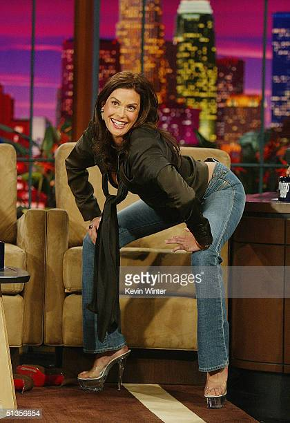 Actress Teri Hatcher appears on The Tonight Show with Jay Leno at the NBC Studios on September 23 2004 in Burbank California