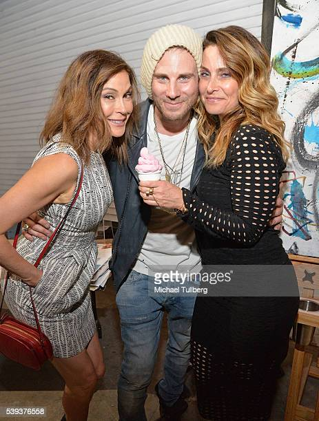 Actress Teri Hatcher artist Gregory Siff and guest attend the opening reception for Siff's 'Portrait Of An American Ice Cream Man' on June 10 2016 in...
