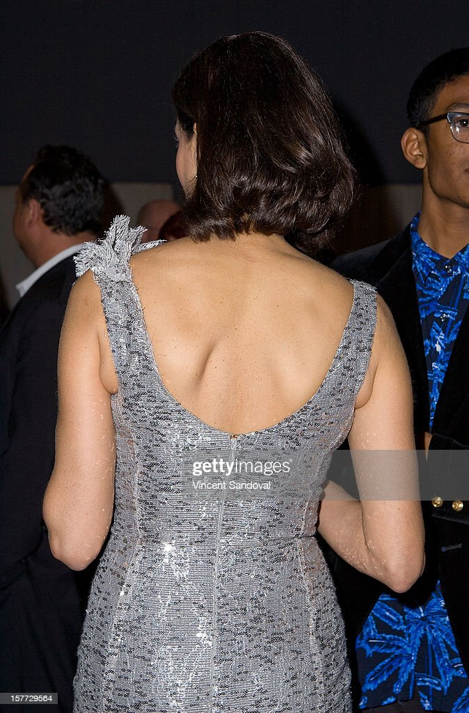 Actress Teri Hatcher (dress detail) attends fashion designer Kevan Hall's Spring 2013 Collection on December 5, 2012 in Los Angeles, California.