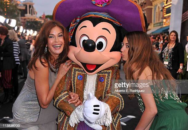 Actress Teri Hatcher Mickey Mouse and Emerson Hatcher arrive at the world premiere of 'Pirates Of The Caribbean On Stranger Tides' at Disneyland on...