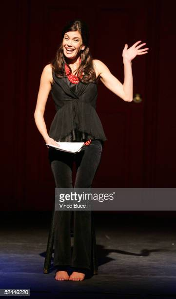 Actress Teri Hatcher performs at the 2005 Worldwide VDay Campaign presentation of The Vagina Monologues at the Wilshire Ebell Theatre on March 17...